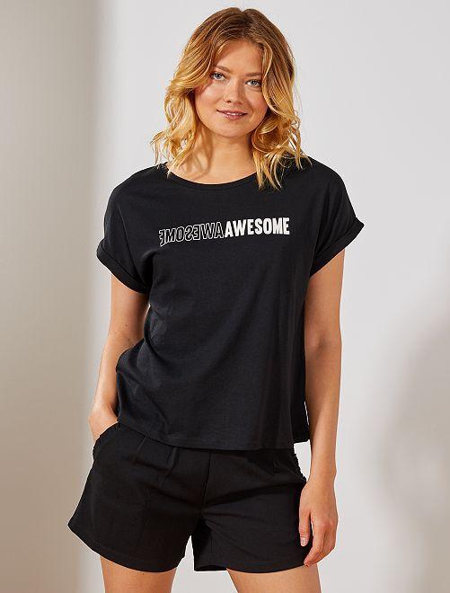 Camiseta estampada                                                     NEGRO Mujer talla 34 a 48