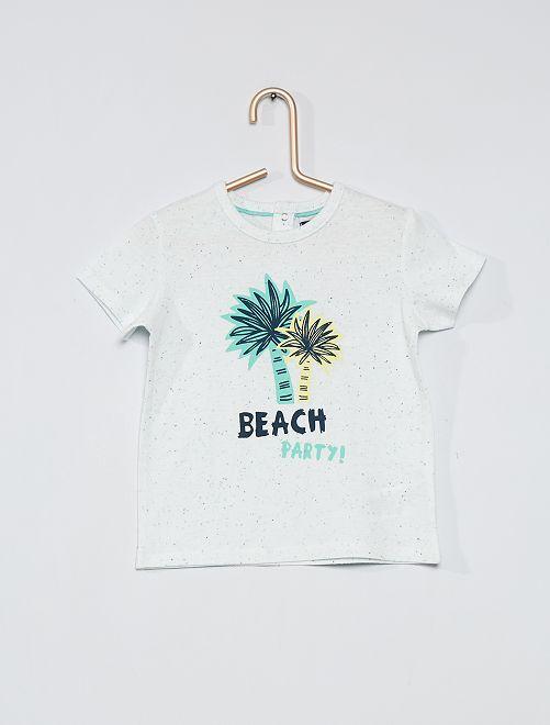 Camiseta estampada 'palmeras'                             BLANCO