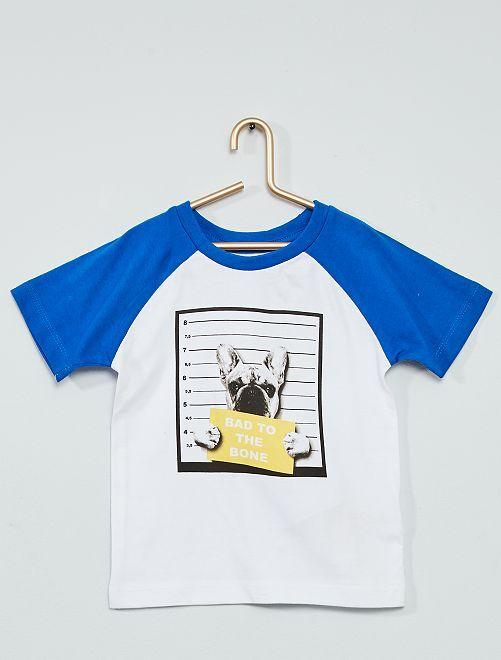 Camiseta estampada 'perro'                             blanco/azul