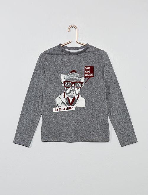 Camiseta estampada 'perro'                                                                 GRIS