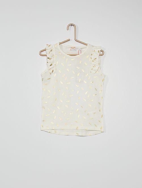 Camiseta estampada 'plumas'                                         blanco