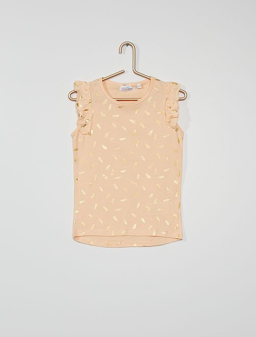 Camiseta estampada 'plumas'                             ROSA