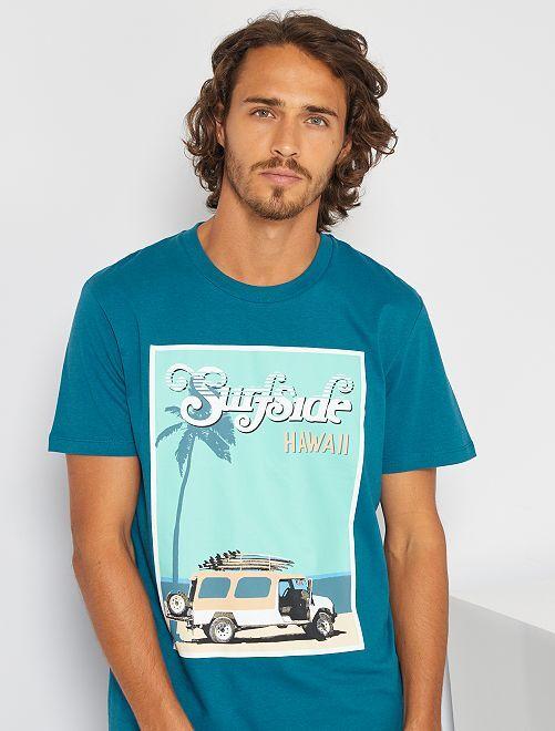 Camiseta estampada 'Produkt' orgánica                     azul