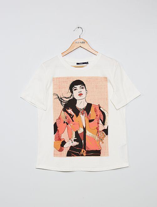 Camiseta estampada 'rostro'                                                                 BLANCO