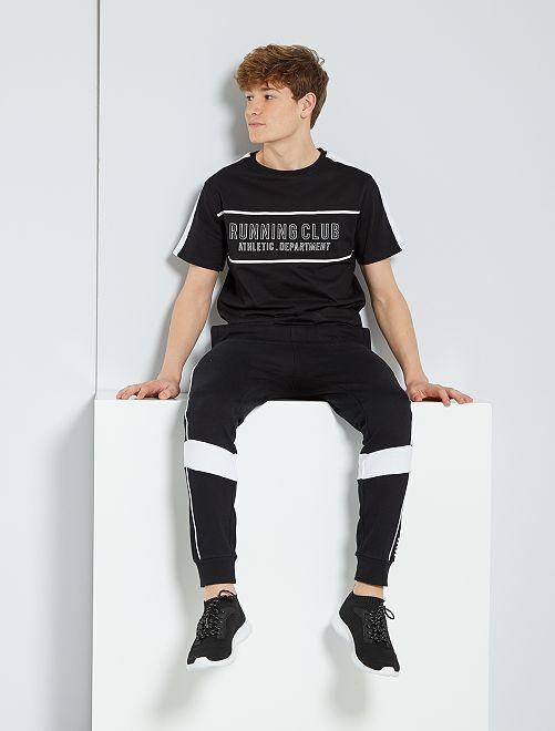 Camiseta estampada 'running'                             NEGRO