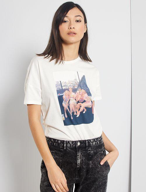 Camiseta estampada 'Sexo en Nueva York'                             blanco nieve