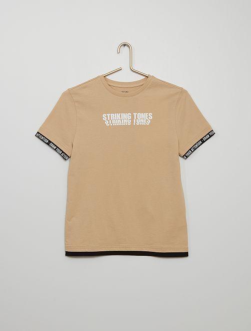 Camiseta estampada 'Stiking tones'                     BEIGE