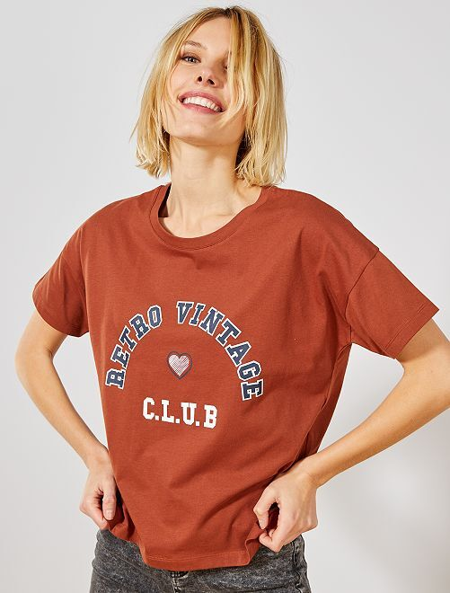 Camiseta estampada 'University'                                         MARRON