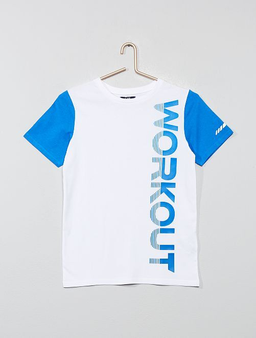 Camiseta estampada 'Workout'                     blanco/azul