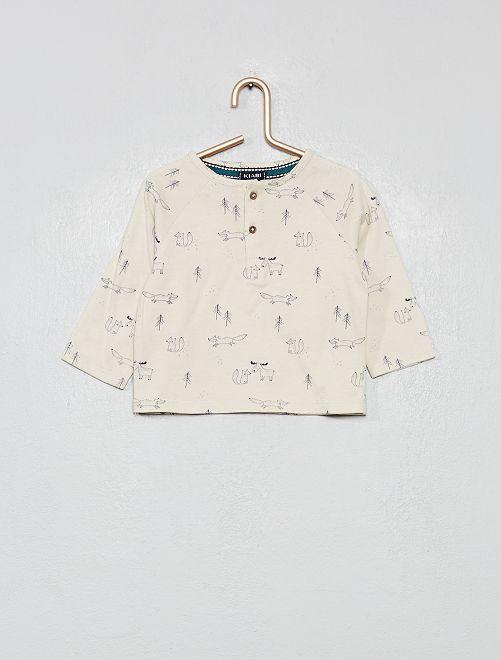Camiseta estampado 'bosque'                             BEIGE