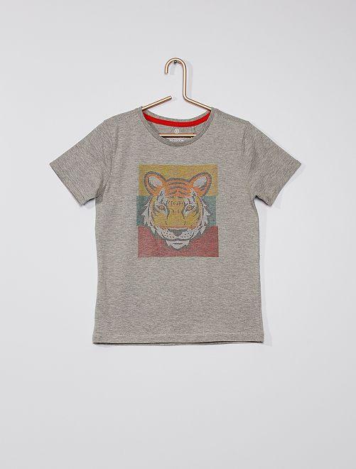 Camiseta estampado 'tigre' con relieve                             gris