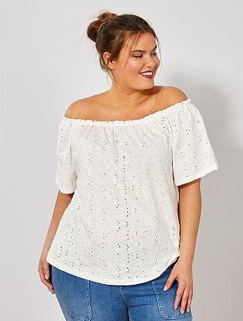 Tallas grandes mujer - Camiseta estilo Bardot con bordado - Kiabi 7de2f64295d