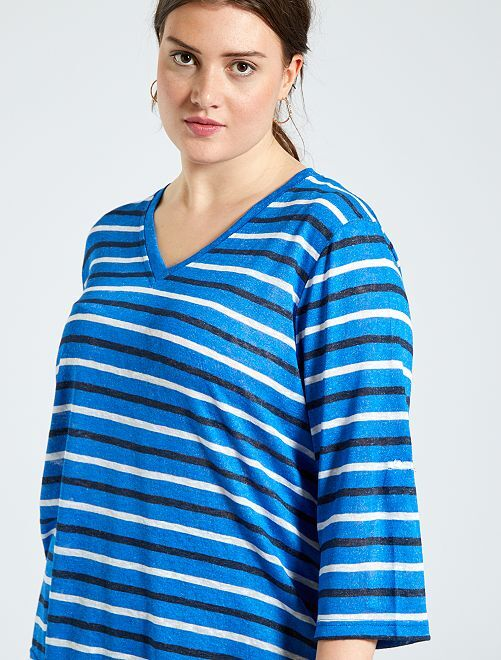 Camiseta estilo lino                                         azul