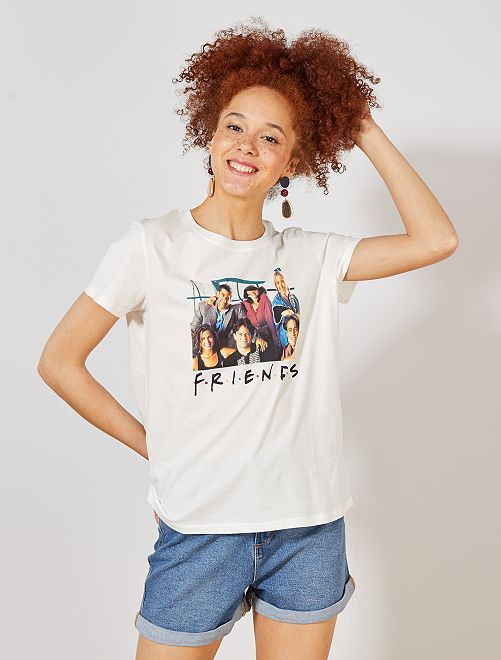 Camiseta 'Friends'                             blanco nieve Mujer talla 34 a 48