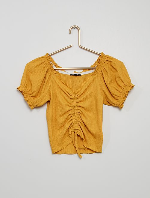 Camiseta fruncida de punto gofrado                                                     AMARILLO