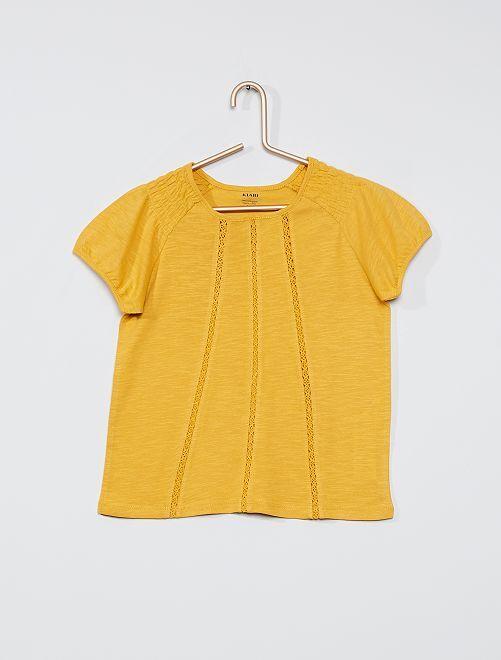 Camiseta fruncida 'eco-concepción'                                                                                                                             AMARILLO