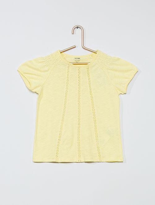 Camiseta fruncida 'eco-concepción'                                                                             amarillo limón
