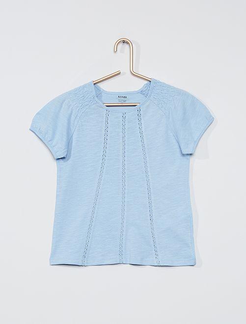 Camiseta fruncida 'eco-concepción'                                                                                                                             AZUL