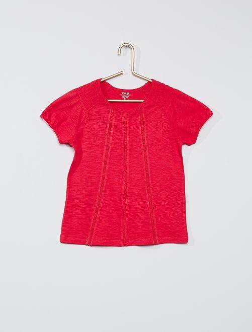 Camiseta fruncida 'eco-concepción'                                                                                                                             fucsia