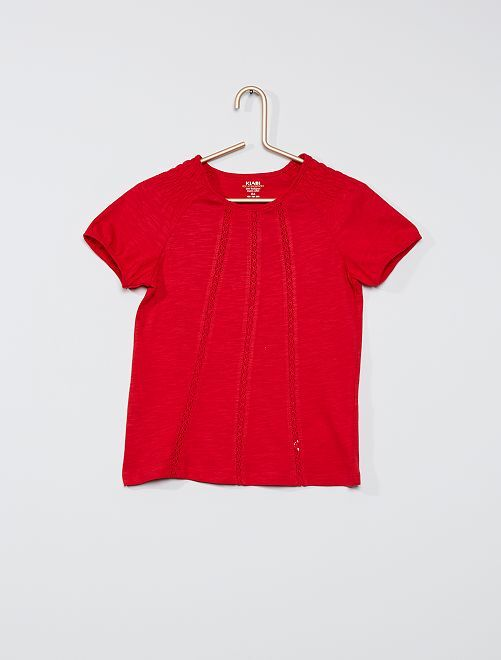 Camiseta fruncida 'eco-concepción'                                                                                                                             ROJO