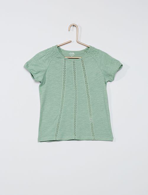 Camiseta fruncida 'eco-concepción'                                                                                                                             verde gris