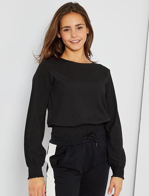 Camiseta fruncida                                         negro