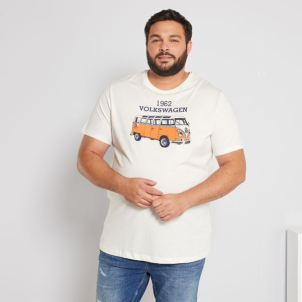 Camiseta Furgoneta Volkswagen Tallas Grandes Hombre Blanco Nieve Kiabi 15 00