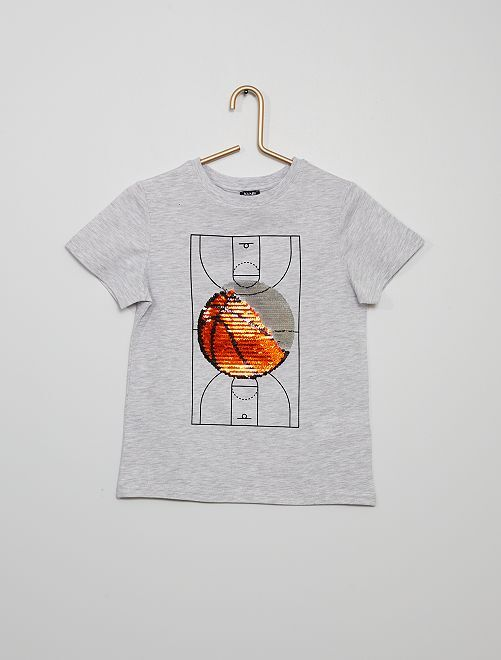 Camiseta 'globo' con lentejuelas reversibles                                                                 GRIS