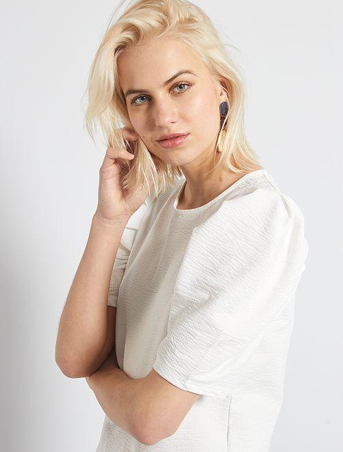Camiseta gofrada con manga presunto                                         blanco nieve
