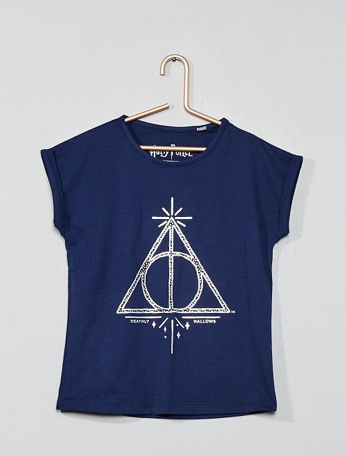Camiseta 'Harry Potter' con estampado plateado                             azul marino