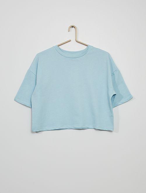 Camiseta holgada de felpa ligera                                         gris azul