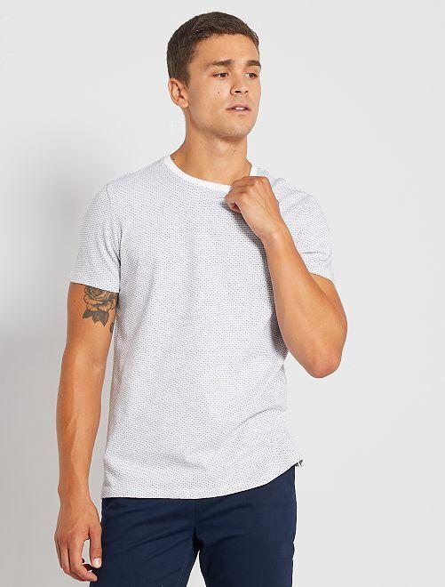 Camiseta jacquard eco-concepción                                                                                         blanco