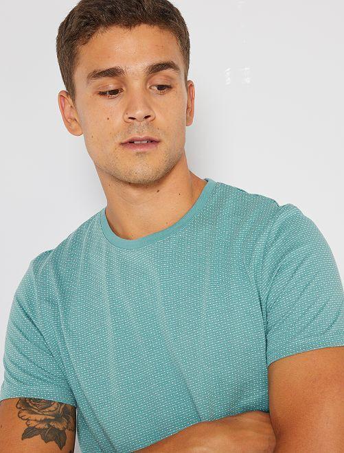 Camiseta jacquard eco-concepción                                                                                         verde gris