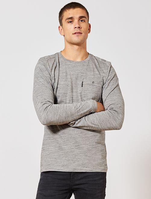Camiseta jaspeada bolsillo pecho                                         gris Hombre