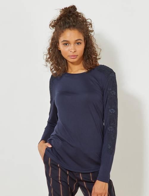 Camiseta 'JDY' con detalle de encaje                                         azul marino Mujer talla 34 a 48
