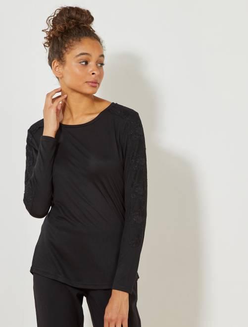 Camiseta 'JDY' con detalle de encaje                                         negro Mujer talla 34 a 48