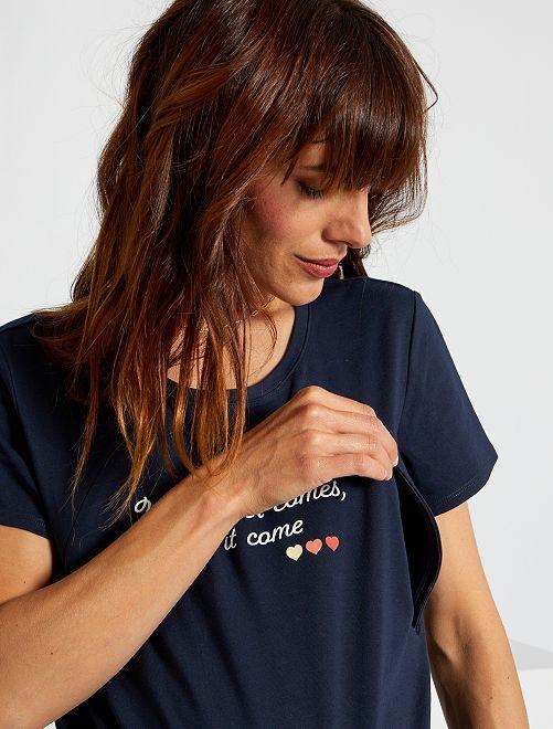 Camiseta lactancia con cremallera                                                                 AZUL