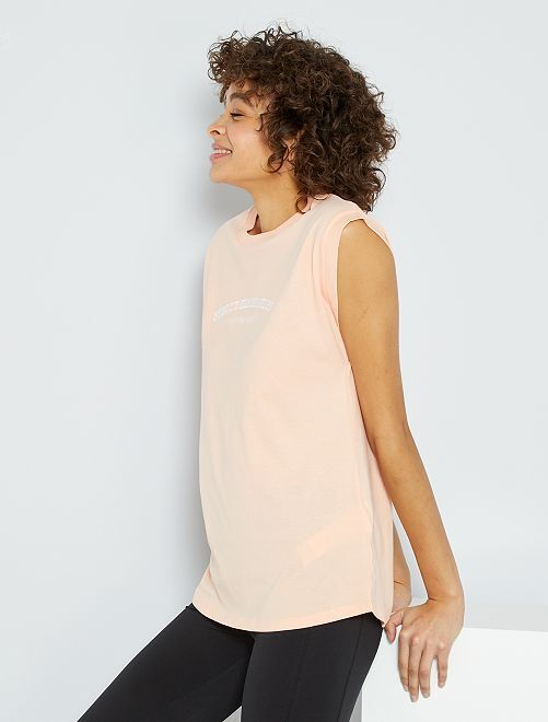 Camiseta larga con bordado                                         ROSA