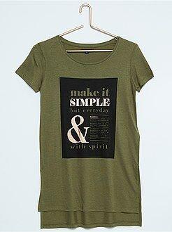 Camisetas verde - caqui - Camiseta larga estampada