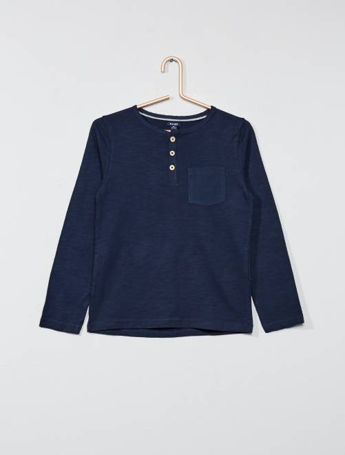 Camiseta lisa con cuello panadero                                                     azul Chico