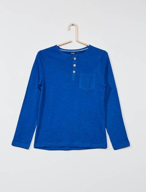 Camiseta lisa con cuello panadero                                                                             azul oscuro Chico