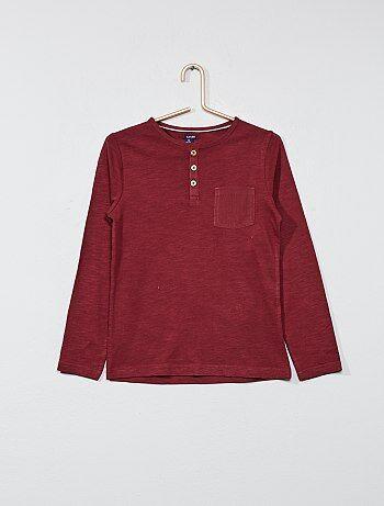Camiseta lisa con cuello panadero - Kiabi