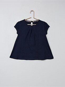 Camiseta lisa con pliegues - Kiabi