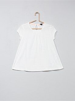 Camiseta lisa con pliegues - Kiabi