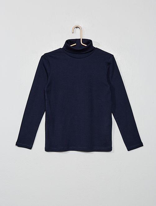 Camiseta lisa cuello alto                                                                 azul
