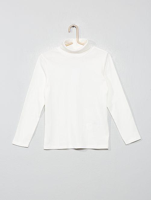 Camiseta lisa cuello alto                                                                                         blanco nieve