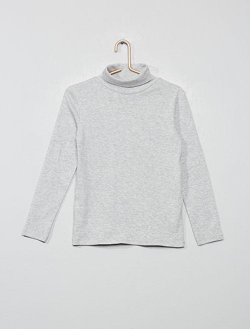 Camiseta lisa cuello alto                                                                                         GRIS