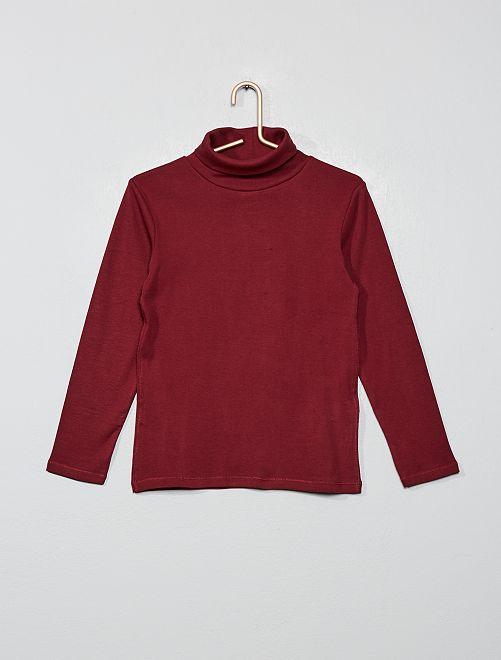 Camiseta lisa cuello alto                                                                 marrón caoba