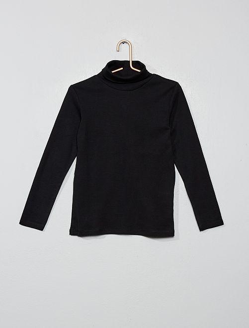 Camiseta lisa cuello alto                                                     negro