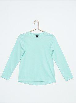 Niña 3-12 años Camiseta lisa de algodón
